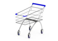 Metal shopping trolley isolated on white Royalty Free Stock Photos