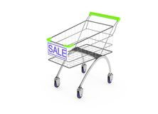Metal shopping trolley isolated on white Royalty Free Stock Photo