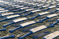 Metal shopping trolley stack Stock Photography