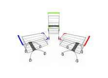 Metal shopping trolleys isolated on white Royalty Free Stock Image