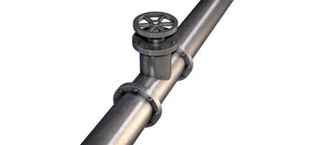 Metal Shutoff Valve. A metal shutoff valve attached to a metal pipe with bolts on an isolated background Stock Images