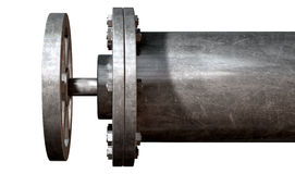 Metal Shutoff Valve. A metal shutoff valve attached to a metal pipe with bolts on an isolated background Stock Photography