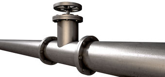 Metal Shutoff Valve. A metal shutoff valve attached to a metal pipe with bolts on an isolated background Stock Image
