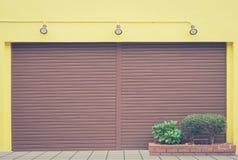 Metal shutter door of store closed Stock Image