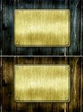 Metal sign. On wood plank background Stock Image