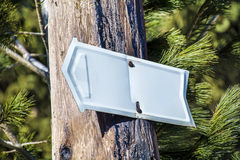 Metal sign board in the forest .Direction board Stock Photo
