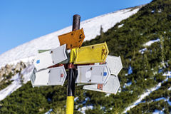 Metal sign boards in the mountain  .Direction board Royalty Free Stock Photo
