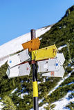 Metal sign boards in the mountain  .Direction board Royalty Free Stock Image