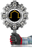 Metal Sign for Construction Industry. Hand with work glove holding a metal sign in the shape of gear with a meter ruler in the shape of house. Sign for the stock illustration