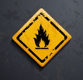 Metal sign fire. On a gray background Royalty Free Stock Photos