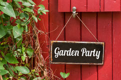 Metal sign with the inscription Garden Party. Old metal sign with the inscription Garden Party Stock Images