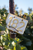 Metal sign in a vineyard Stock Photo