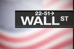 Metal sign of Wall Street and american flag Royalty Free Stock Photos