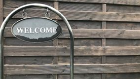 Sign saying `Welcome`. stock video footage