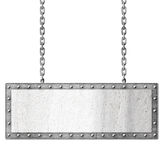 Metal signboard hanging on chains Royalty Free Stock Image