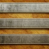 Metal signboard on old wooden background Stock Photos