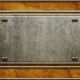 Metal signboard on old wooden background Royalty Free Stock Photography