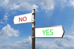 Metal signpost no yes balance with opposite directions Stock Image