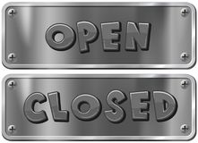 Metal signs for open and closed Stock Image