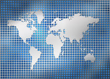 Metal silver grid world map Stock Images