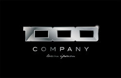 1000 silver metal number company design logo. 1000 metal silver logo number on a black blackground Royalty Free Stock Images