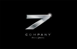 7 silver metal number company design logo. 7 metal silver logo number on a black blackground Royalty Free Stock Images