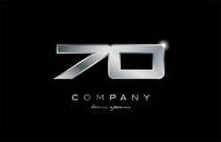 70 silver metal number company design logo. 70 metal silver logo number on a black blackground Royalty Free Stock Photos