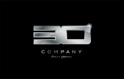 30 silver metal number company design logo. 30 metal silver logo number on a black blackground Royalty Free Stock Photography