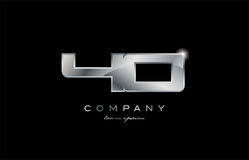 40 silver metal number company design logo. 40 metal silver logo number on a black blackground Stock Photography