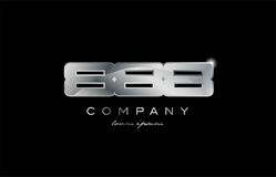 888 silver metal number company design logo. 888 metal silver logo number on a black blackground Royalty Free Stock Image