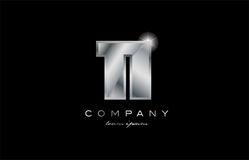 11 silver metal number company design logo. 11 metal silver logo number on a black blackground Stock Photos