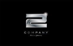 2 silver metal number company design logo. 2 metal silver logo number on a black blackground Royalty Free Stock Photo