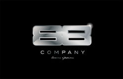 88 silver metal number company design logo. 88 metal silver logo number on a black blackground Stock Photo