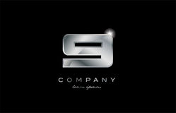 9 silver metal number company design logo. 9 metal silver logo number on a black blackground Royalty Free Stock Photo