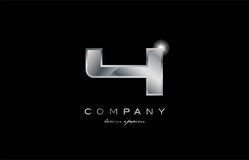 4 silver metal number company design logo. 4 metal silver logo number on a black blackground Stock Photos