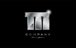 111 silver metal number company design logo. 111 metal silver logo number on a black blackground Stock Images