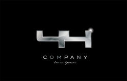 44 silver metal number company design logo. 44 metal silver logo number on a black blackground stock illustration