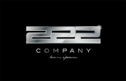 222 silver metal number company design logo. 222 metal silver logo number on a black blackground Stock Photography