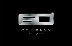 60 silver metal number company design logo. 60 metal silver logo number on a black blackground Royalty Free Stock Images