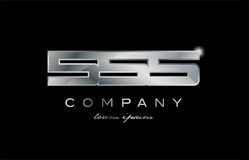 555 silver metal number company design logo. 555 metal silver logo number on a black blackground Royalty Free Stock Photos