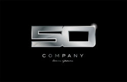 50 silver metal number company design logo. 50 metal silver logo number on a black blackground vector illustration