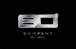 80 silver metal number company design logo. 80 metal silver logo number on a black blackground Stock Photos