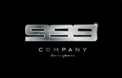 999 silver metal number company design logo. 999 metal silver logo number on a black blackground Stock Photography