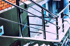 Metal silver railing and stairs Royalty Free Stock Photos