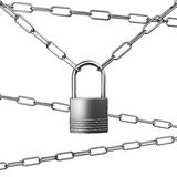 Metal Silver or Steel Chains and Padlock on White Background Royalty Free Stock Image