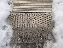 Metal Skid Board in Ice Royalty Free Stock Photography