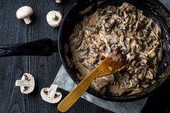 Free Metal Skillet Beef Stroganoff In A Thick With Mushrooms Royalty Free Stock Image - 105976226