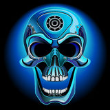 Metal skull biker. The skull from the front on a black background Royalty Free Illustration
