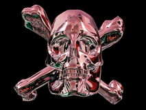 Metal skull and cross bones. With reddish color, black background Royalty Free Illustration