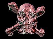 Metal skull and cross bones. With reddish color, black background royalty free illustration